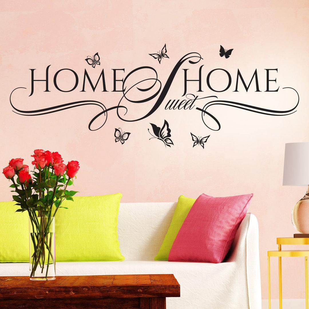 wandtattoo home sweet home wandaufkleber f r familien liebe. Black Bedroom Furniture Sets. Home Design Ideas