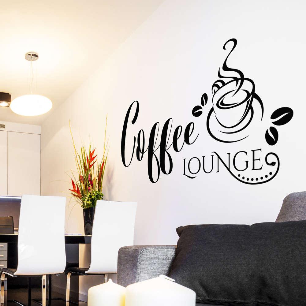 Wandtattoo Coffee Lounge Kaffee Motiv Mit Kaffetasse Und Bohnen