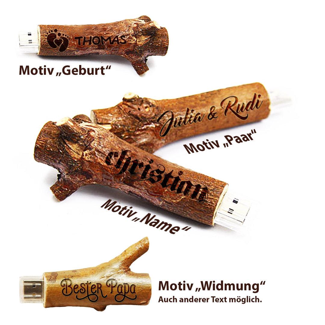 USB-Stick aus echtem Holz-Ast mit persönlicher Gravur. Geschenk