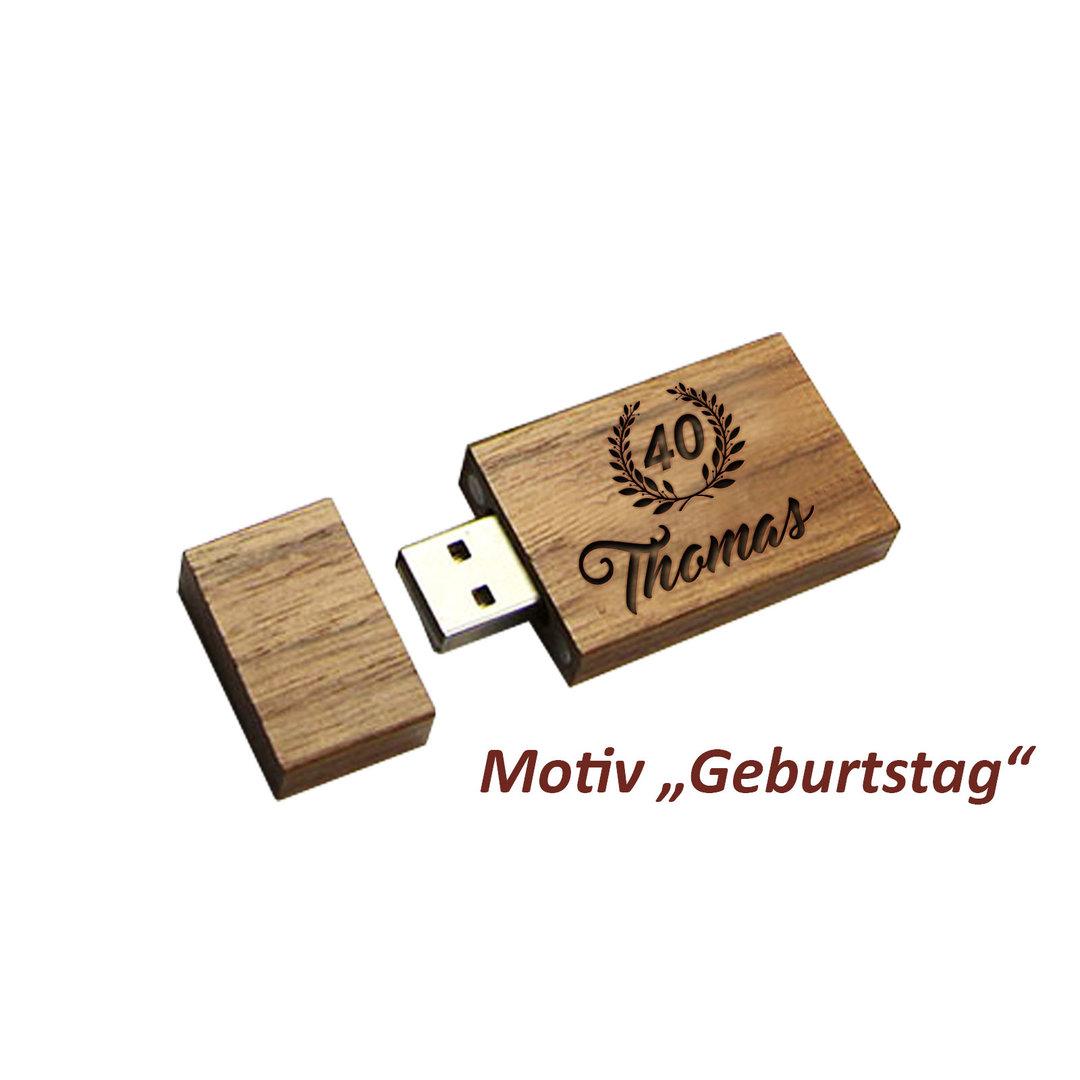 Geschenkset Holz USB-Stick mit Etui, mit persönlicher Gravur 16GB
