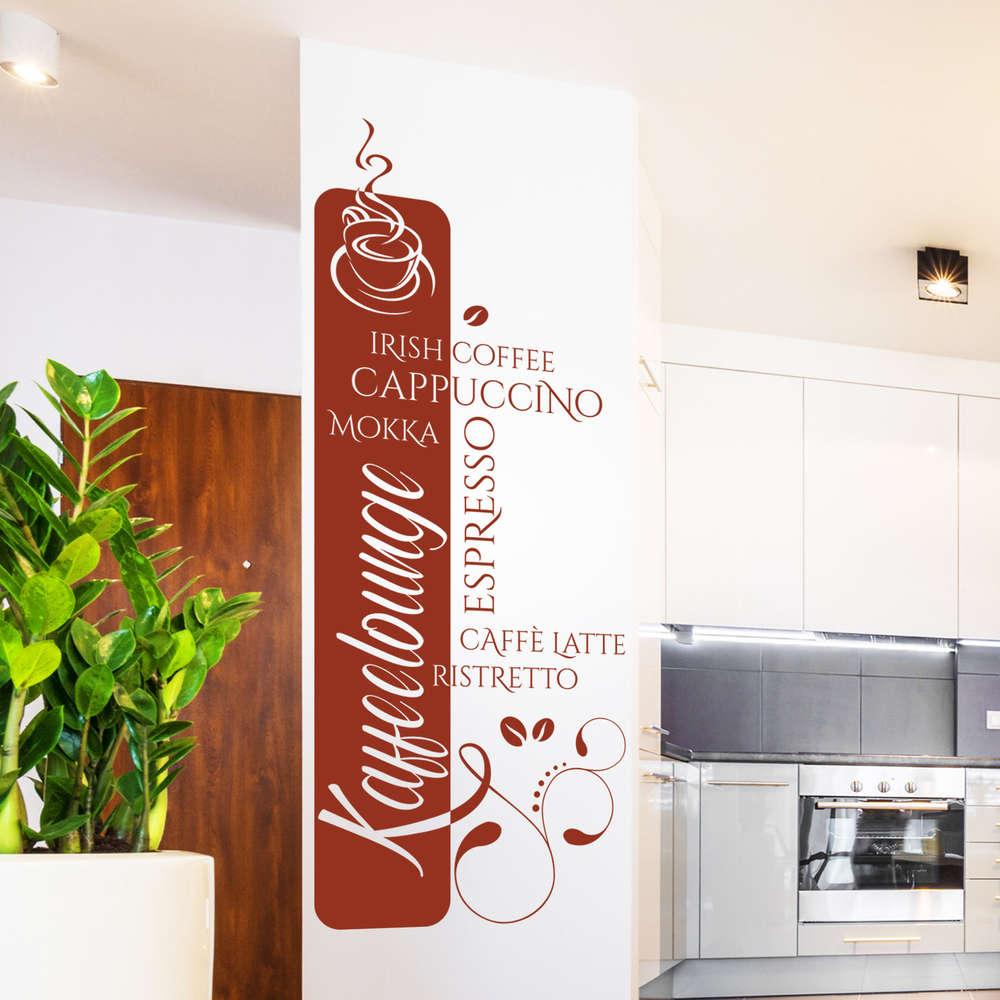 Wandtattoo Kaffeelounge Banner. Moderne Kaffee-Text Cloud. Küche.