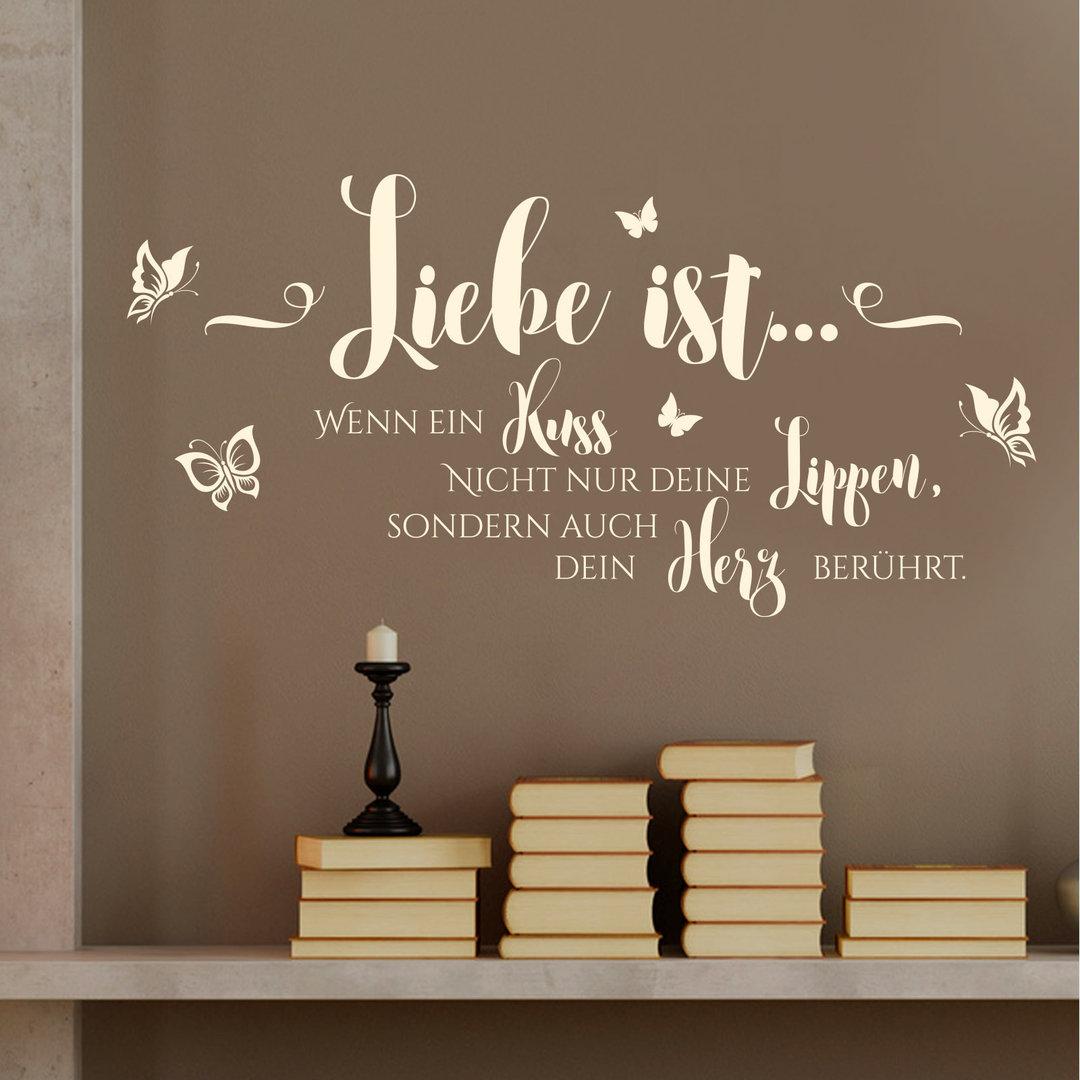 Wandtattoo Liebe ist wenn ein Kuss Wand-Bild für