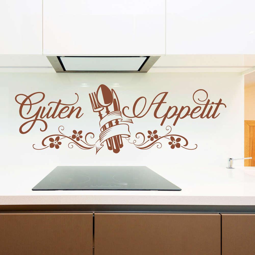 Wandtattoo Guten Appetit mit Blumen und Besteck. Bild für Küche.