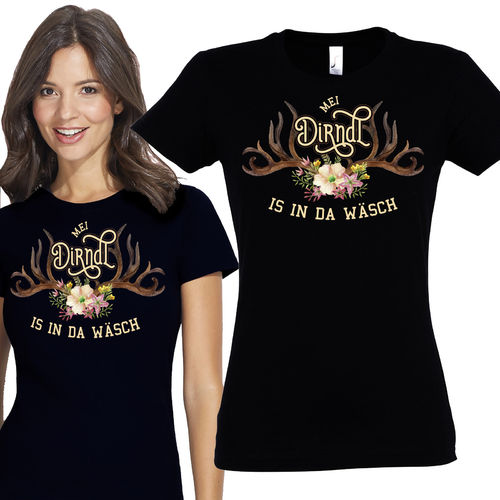 Damen T-Shirt Mei Dirndl is in da Wäsch