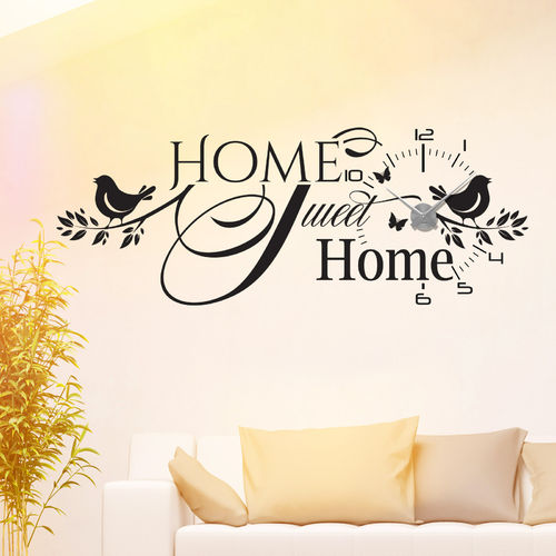 Wandtattoo-Uhr Home Sweet Home