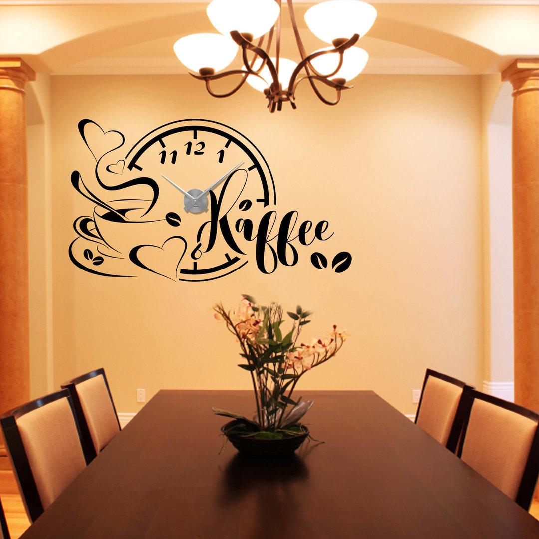 wandtattoo uhr kaffee mit tasse und bohnen wanduhr f r die k che. Black Bedroom Furniture Sets. Home Design Ideas