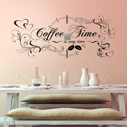 Wandtattoo-Uhr Coffee Time Is Any Time