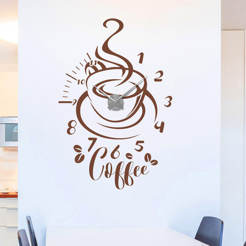 Wandtattoo-Uhr Coffee