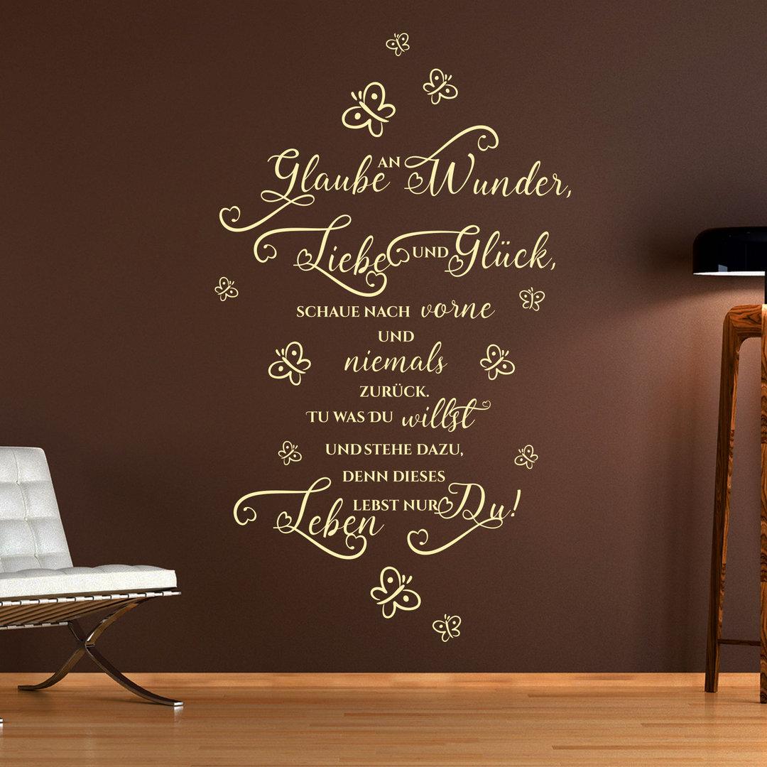 wandtattoo glaube an wunder liebe und gl ck toller spruch zitat. Black Bedroom Furniture Sets. Home Design Ideas